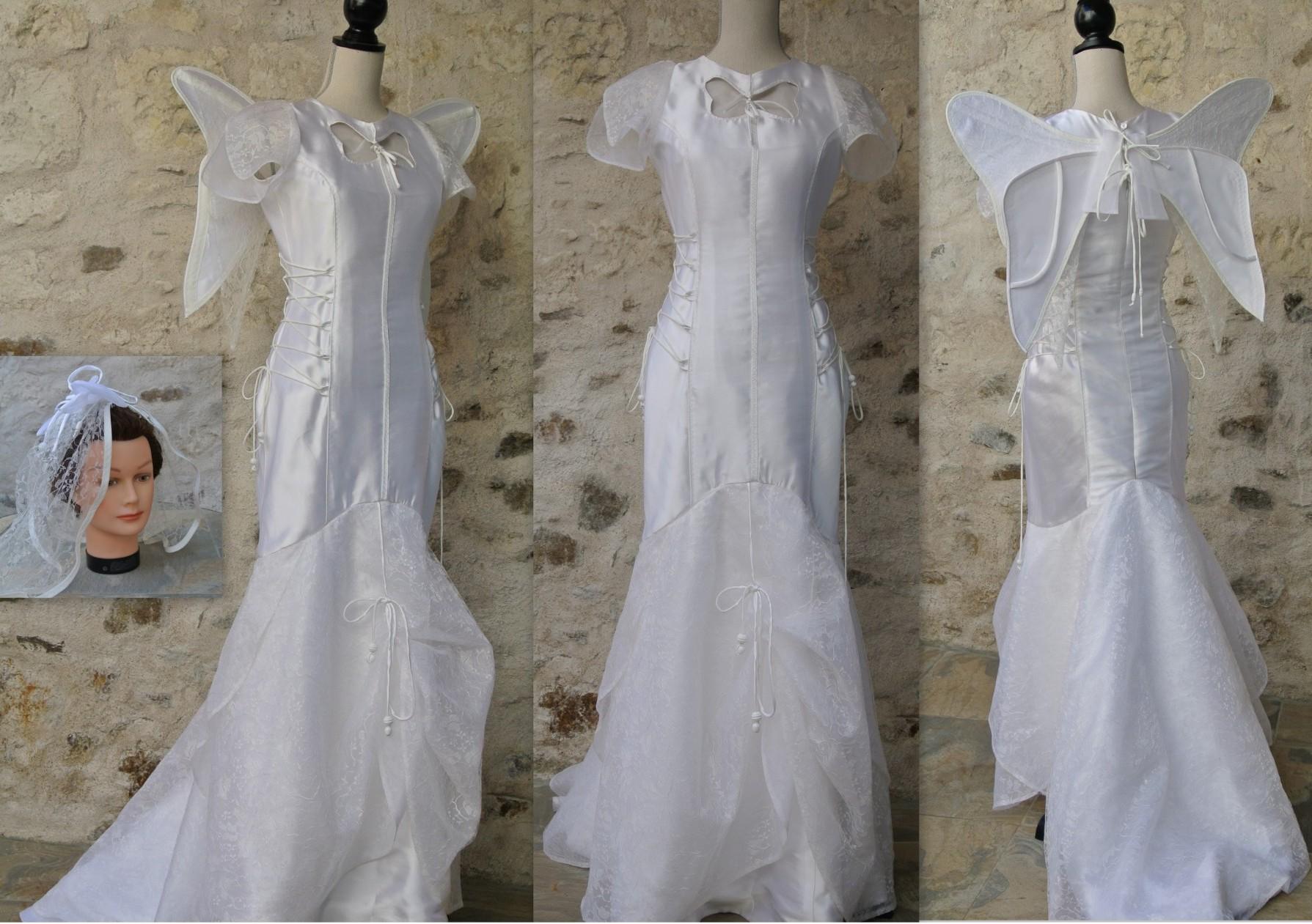 Robe de mariée papillon en soie
