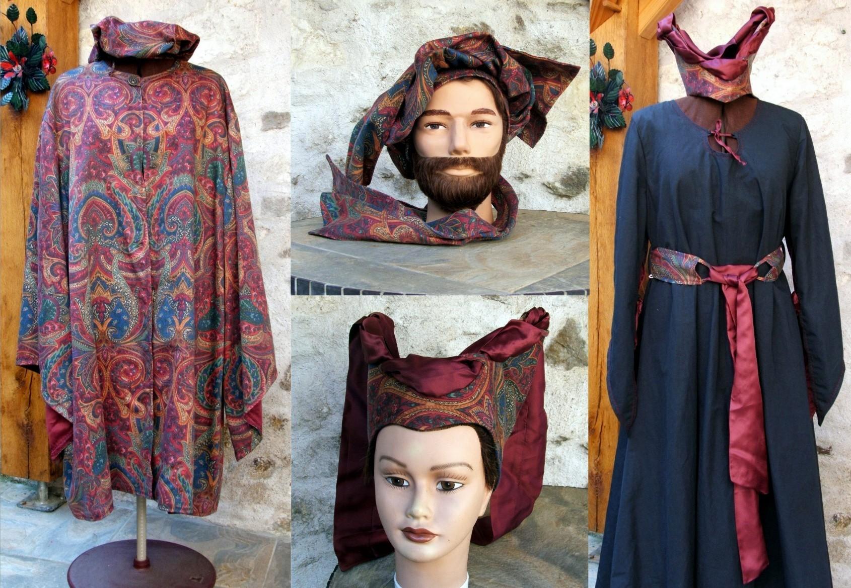 Veste médiévale pour homme et robe femme
