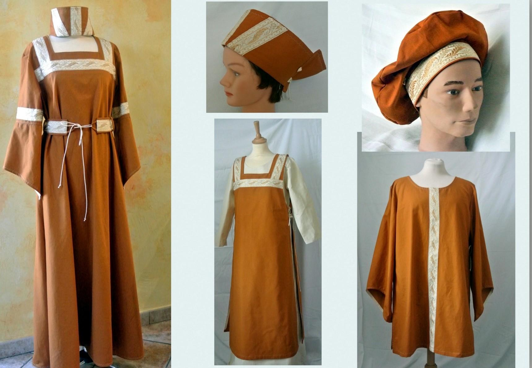 Robe et tunique médiévales.